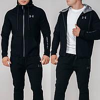 Мужской зимний спортивный костюм черный 46 48 50 52