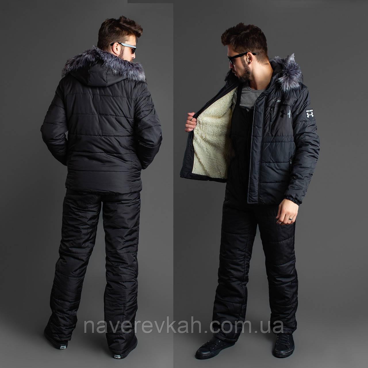 Мужской зимний лыжный костюм черный 46 48 50 52