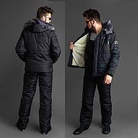 Мужской зимний лыжный костюм черный 46 48 50 52, фото 1