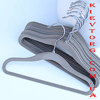Плечики вешалки детские флокированные (бархатные) серые, 30 см