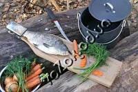 Доска для разделки рыбы с зажимом из бука 60 х 14 см, фото 1