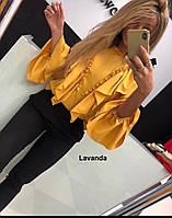 """Блузка женская шелковая с рюшами, размер 42-46 (2цв) """"LAVANDA"""" купить недорого от прямого поставщик"""