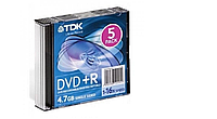 Диск TDK DVD-R 4,7Gb 16x Bulk 5 pcs