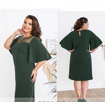 3 ◈ Размер 48, 52, 54, 56 / Женское нежное и изысканное платье, цвет зеленый / Весна - осень / Большие размеры