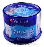 Диск VERBATIM CD-R 700Mb 52x Cake 50 pcs Printable 43309