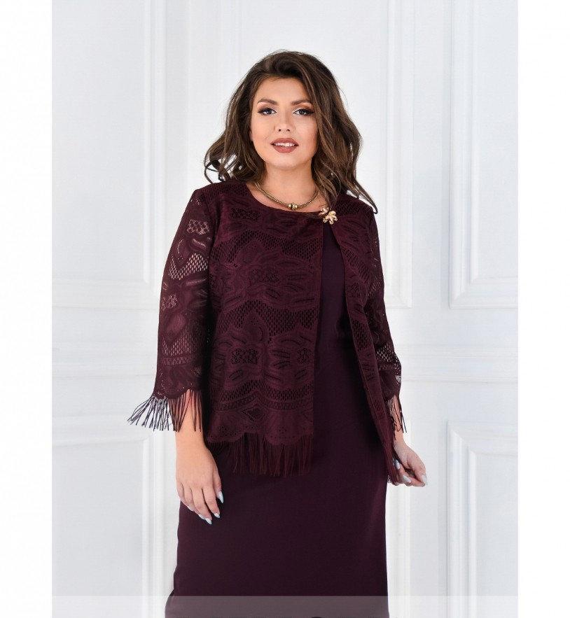 Платье нарядное с накидкой украшенной бахромой №375-бордо