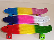 Скейт Penny Board трехцветный со светящимися колесами