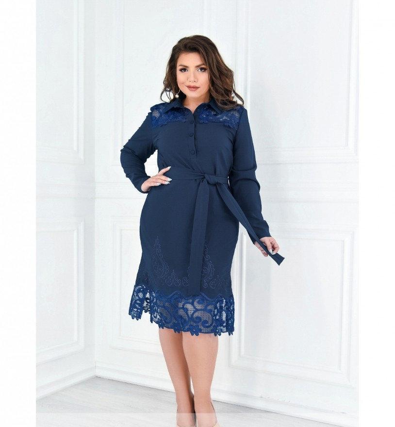 Платье прямого кроя с ажурными вставками №370-джинсовый
