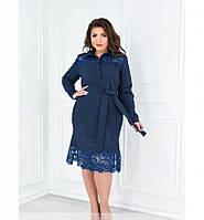 Платье прямого кроя с ажурными вставками №370-джинсовый, фото 1