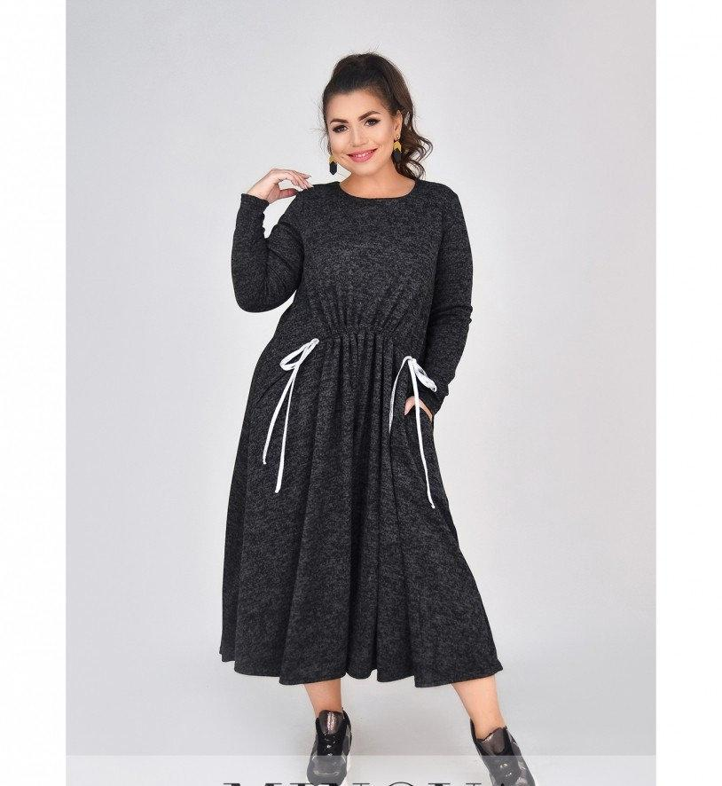Платье батал мягкое, уютное шерстяное №4100-1-графит