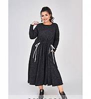 Платье батал мягкое, уютное шерстяное №4100-1-графит, фото 1