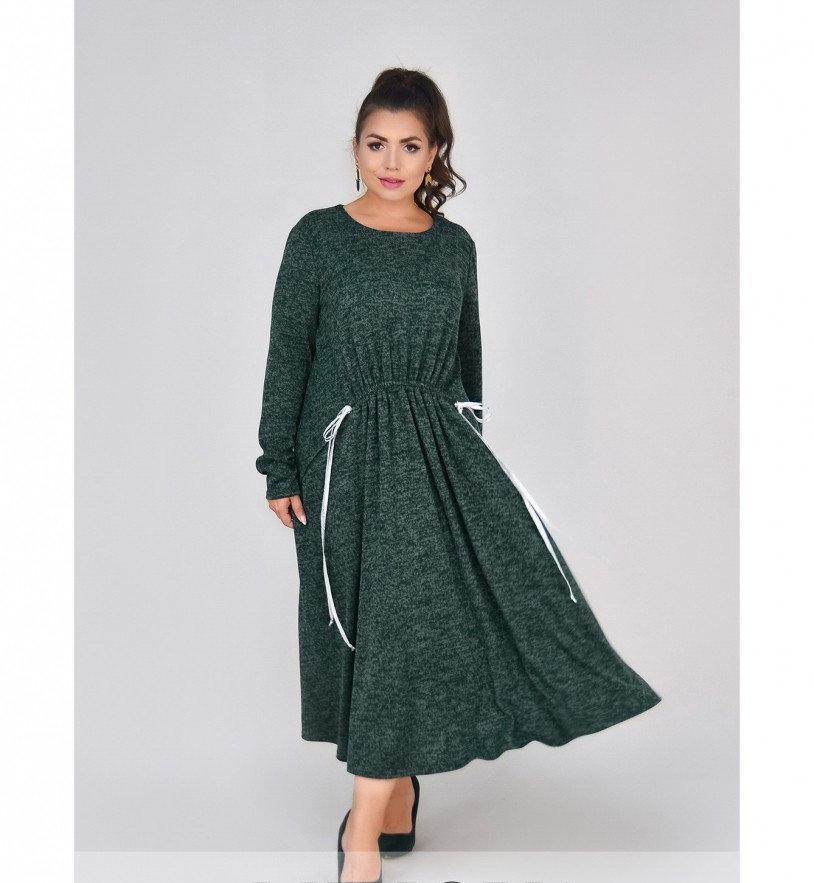 Платье батал мягкое, уютное шерстяное №4100-1-зеленый