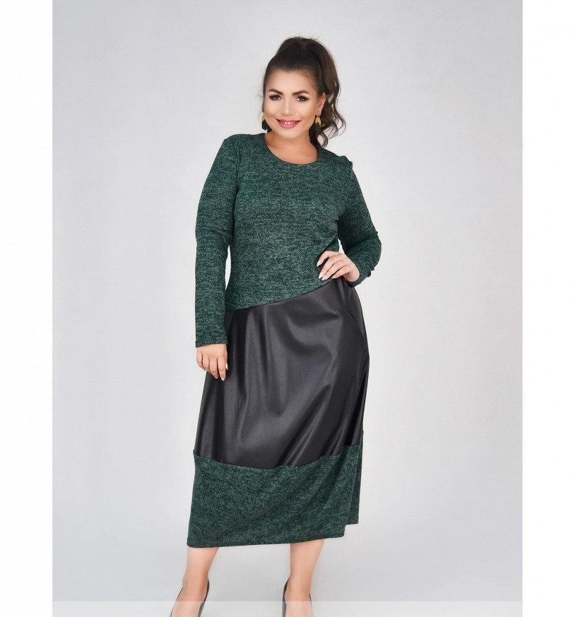 Платье прямого кроя из ангоры №4091-1-тёмно-зеленый