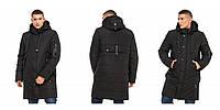 Зимняя удлиненная мужская куртка 46 48 50 52 54 56 р черный