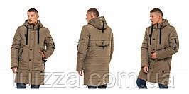 Зимняя удлиненная мужская куртка 46 48 50 52 54 56 р хаки