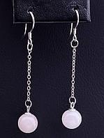 Серьги женские с натуральным камнем SUNSTONES Розовый кварц Серебро 925