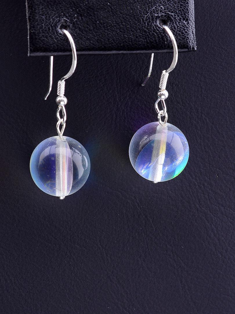 Серьги женские с натуральным камнем SUNSTONES Опаловое стекло Серебро 925