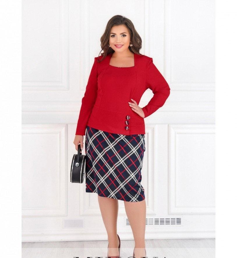 Платье  комбинированное №8-174-красный