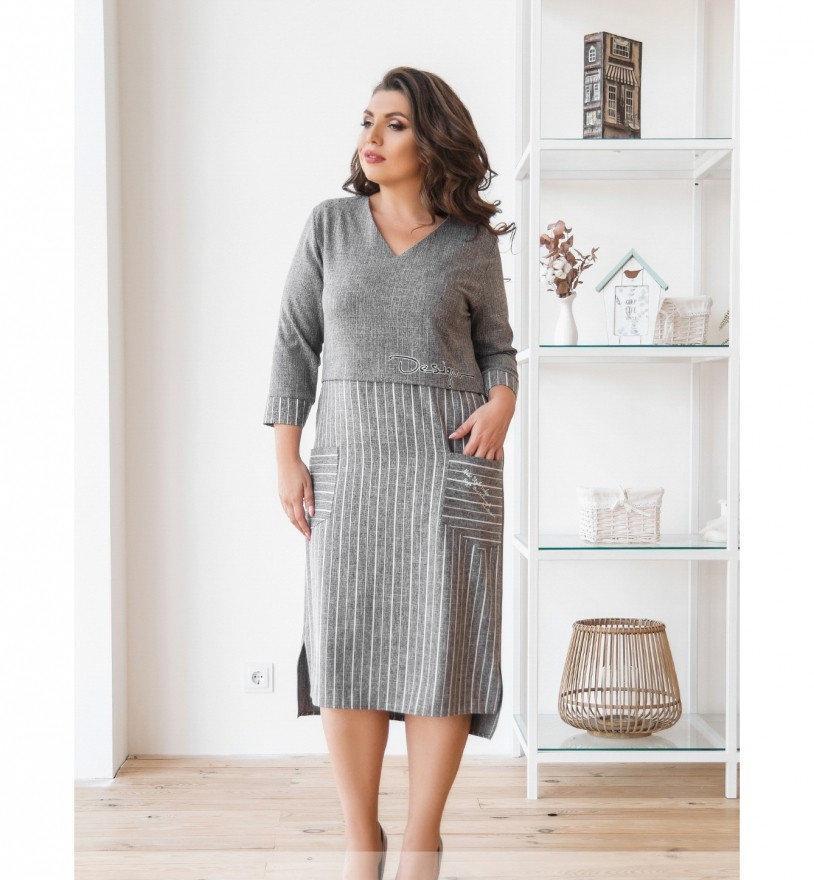 Платье повседневное с карманами №00078-серый