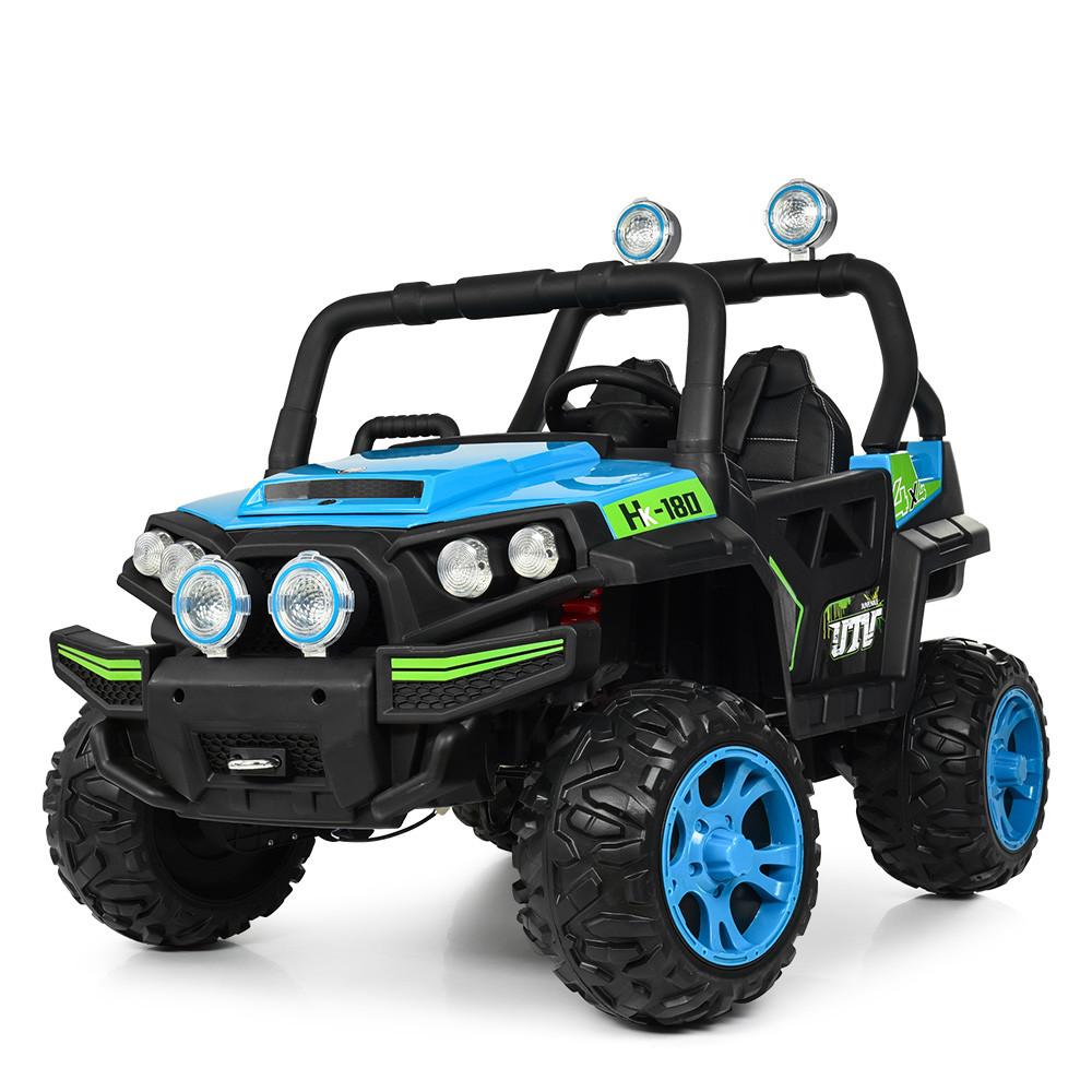 Дитячий електромобіль Джип M 3825 EBLR-4, Баггі, 4 мотора, Шкіряне сидіння, EVA гума, синій