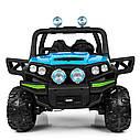 Дитячий електромобіль Джип M 3825 EBLR-4, Баггі, 4 мотора, Шкіряне сидіння, EVA гума, синій, фото 3