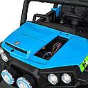 Дитячий електромобіль Джип M 3825 EBLR-4, Баггі, 4 мотора, Шкіряне сидіння, EVA гума, синій, фото 4