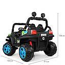Дитячий електромобіль Джип M 3825 EBLR-4, Баггі, 4 мотора, Шкіряне сидіння, EVA гума, синій, фото 5