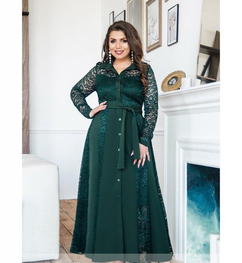 Платье А-силуэта №8618-темно-зеленый