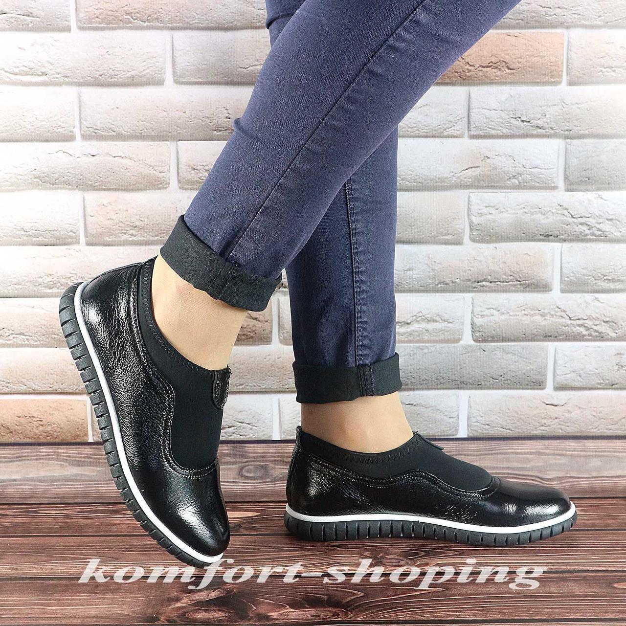 Туфли  женские лаковые, черные  V 1230