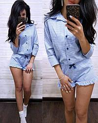 Пижама рубашка и шорты клетка хлопок