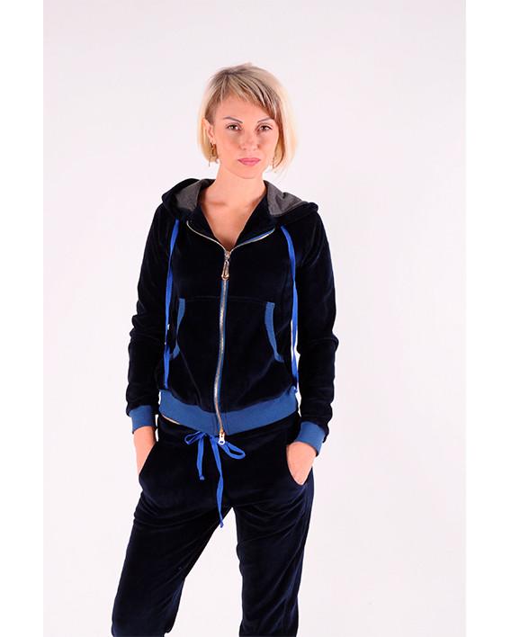 Женский  спортивный костюм велюр Синий размер 42-44