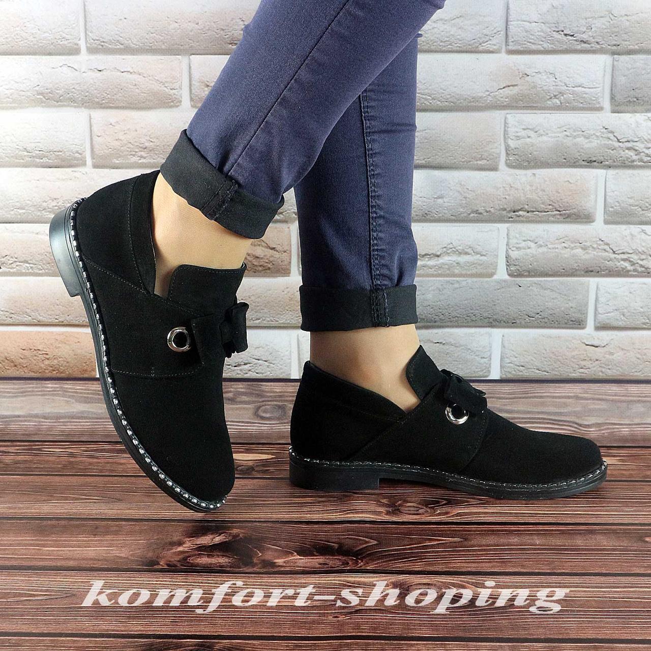 Туфли  женские  замшевые, черные V 1227