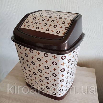 Ведро для мусора с крышкой Elif Plastik 5,5 л (Louis Vuitton) Луи Виттон, фото 2