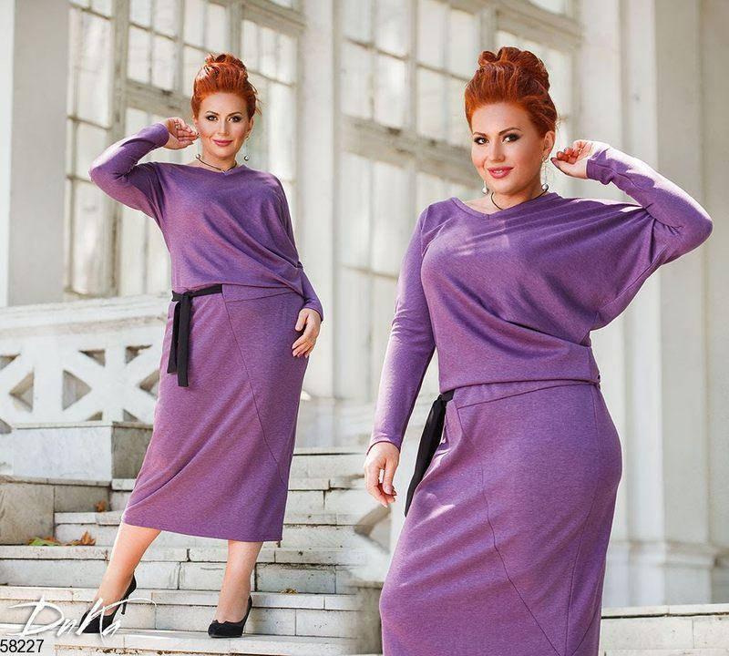 Трикотажное платье больших размеров сиреневое, фото 2