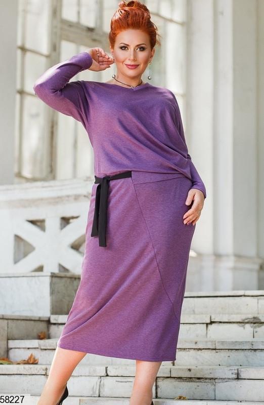 Трикотажное платье больших размеров сиреневое