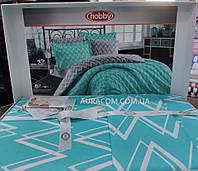 Бирюзовое постельное белье, Hobby poplin, Евро размер, Турция