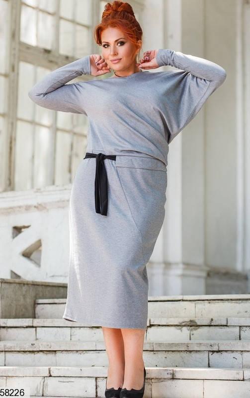 Трикотажное платье больших размеров серое, фото 2