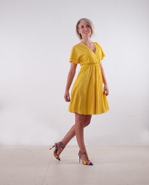 Платье летнее на запах жёлтое в полоску размеры 40,42,44,46