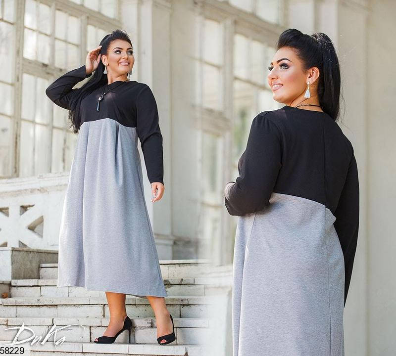 Трикотажное платье больших размеров А-силуэта серое, фото 2