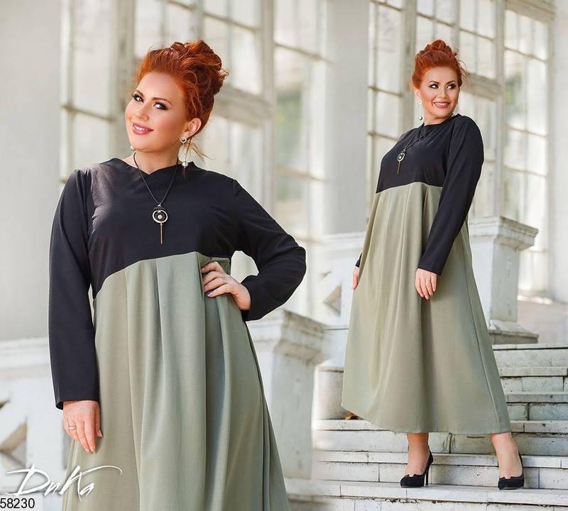 Трикотажное платье больших размеров А-силуэта цвета хаки, фото 2