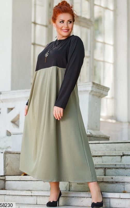 Трикотажное платье больших размеров А-силуэта цвета хаки