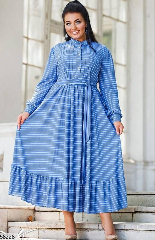 Женское платье больших размеров в пол голубое, фото 2