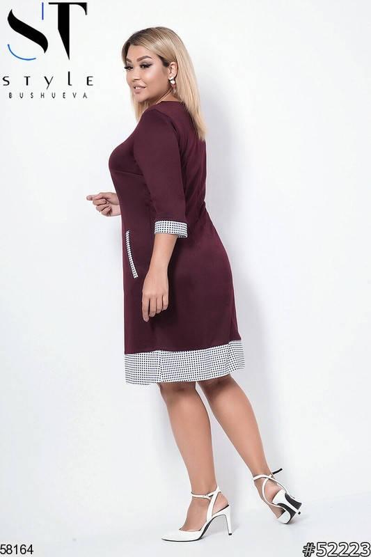 Женское платье больших размеров из трикотажа бордовое, фото 2
