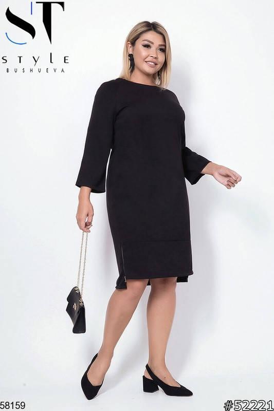 Женское трикотажное платье больших размеров черное, фото 2