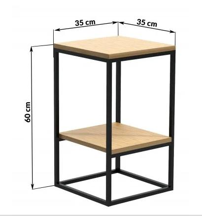 Прикроватный столик LNK - LOFT с двумя полками 600*350*350