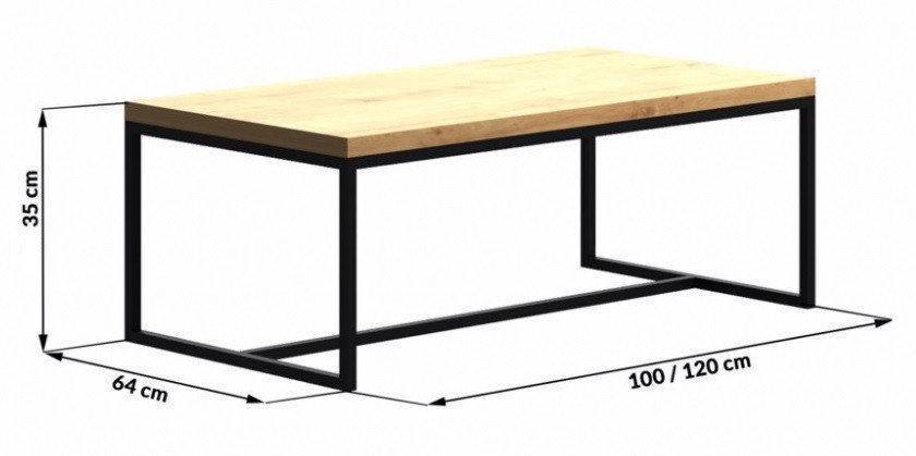 Кофейный Журнальный столик LNK - LOFT 350*1200*640