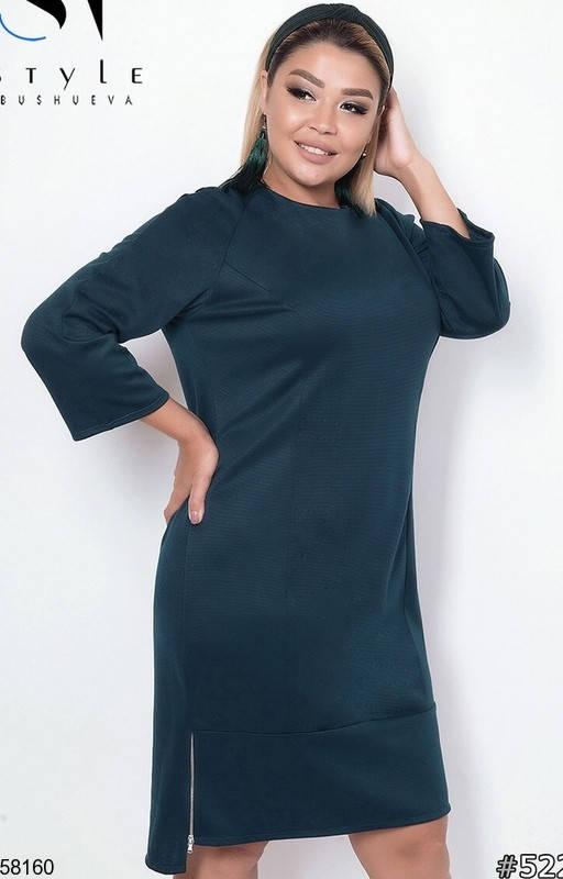 Женское трикотажное платье больших размеров зеленое, фото 2