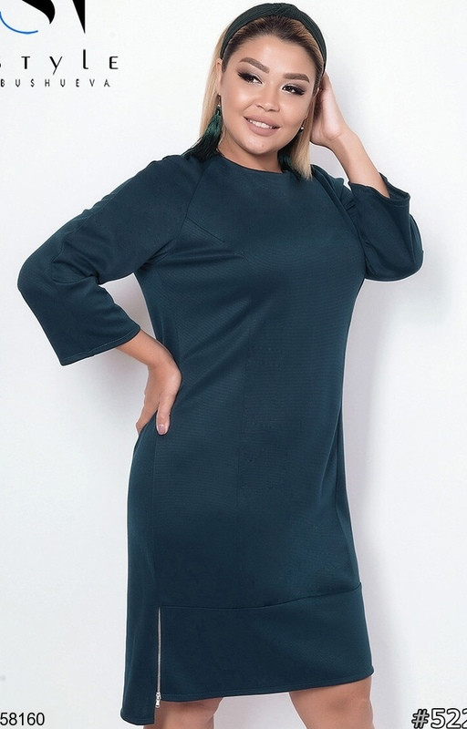 Женское трикотажное платье больших размеров зеленое