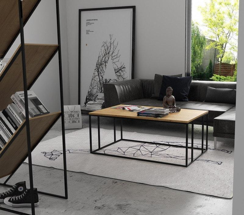 Кофейный Журнальный столик lnk - LOFT прямоугольный с черными ножками small 450*1000*650