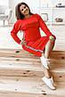 Комфортный прогулочный костюм тройка юбка-штаны-кофта, №151, красный, фото 2